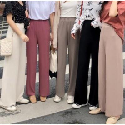 韓国 ファッション レディース パンツ ワイドパンツ リブ ハイウエスト ウエストゴム オルチャン ゆったり 無地 シンプル カジュアル 大
