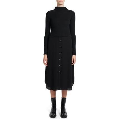 セオリー THEORY レディース ワンピース ワンピース・ドレス Mixed Media Long Sleeve Dress Black