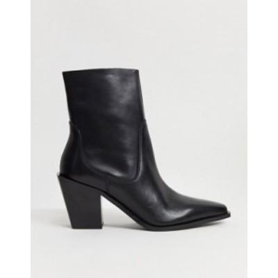 エイソス レディース ブーツ・レインブーツ シューズ ASOS DESIGN Reading leather clean western boots in black Black