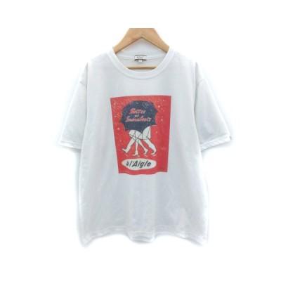 【中古】エーグル AIGLE Tシャツ カットソー 半袖 クルーネック プリント XL 大きいサイズ 白 ホワイト /SM13 メンズ 【ベクトル 古着】