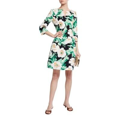 オスカー デ ラ レンタ レディース ワンピース トップス 3/4-Sleeve Floral Dress
