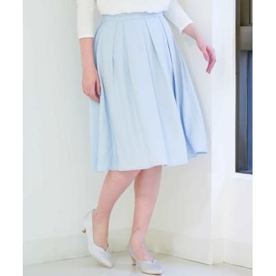 【オフオン】 フレアミディ丈カラースカート レディース ライト ブルー L OFUON
