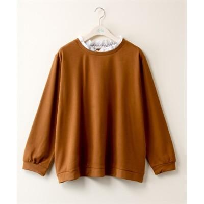 【大きいサイズ】 衿レースプルオーバー【bi abbey】 plus size T-shirts, テレワーク, 在宅, リモート
