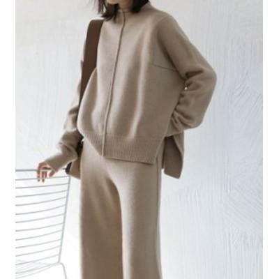 ハイネックニット×パンツセットアップ ニット Knit トップス セーター Sweater レディース 春 夏 秋 冬
