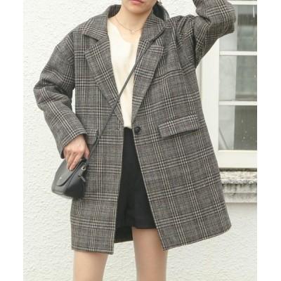 FRP / 【新色追加】 中綿ダブル チェック柄 オーバーコート WOMEN ジャケット/アウター > テーラードジャケット