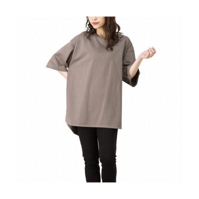 (MAC HOUSE(women)/マックハウス レディース)NAVY ネイビー オーガニックコットン ラウンドチュニックTシャツ OGCS1005/レディース ブラウン