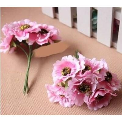 造花 花束 ミニサイズ 花6個×10束セット (ピンク)
