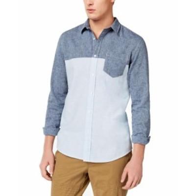 American  ファッション アウター American Rag Mens Blue Size Medium M Chambray Pocket Button Down Shirt