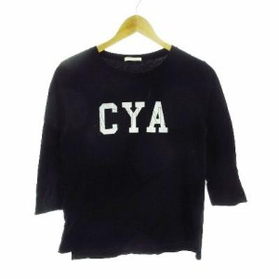 【中古】アーバンリサーチ URBAN RESEARCH Tシャツ カットソー 七分袖 プリント F 黒 ブラック /CK レディース