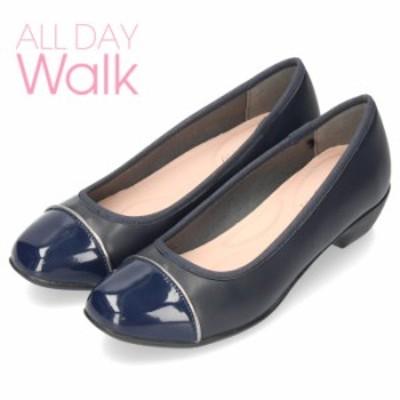 【還元祭クーポン対象】 オールデイウォーク 靴 パンプス ローヒール ALD0680 ネイビースムース 2E ワイズ スクエアトゥ