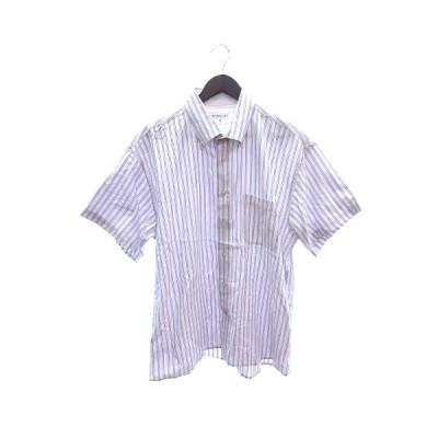 【中古】シンプルライフ SIMPLE LIFE ボタンダウンシャツ 半袖 ストライプ 3L ピンク /ST メンズ 【ベクトル 古着】