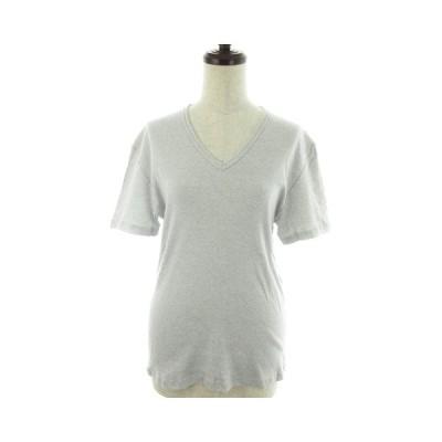 【中古】アーバンリサーチ URBAN RESEARCH Tシャツ カットソー Vネック 半袖 薄手 コットン M グレー トップス /NF レディース 【ベクトル 古着】