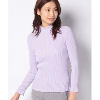 LAPINE BLANCHE/ラピーヌ ブランシュ リブ編み ハイネックセーター パープル 38