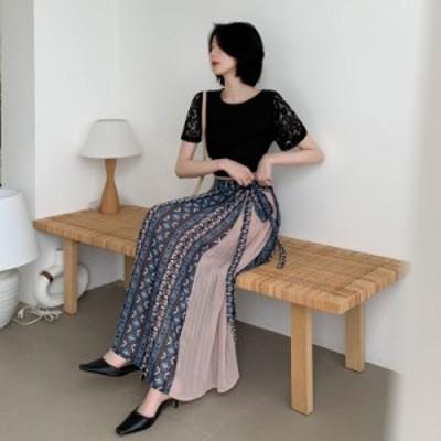 プリーツスカート ロング ラップ風 プリーツスカート 柄スカート プリントTシャツ セット アジアンファッション 春 夏