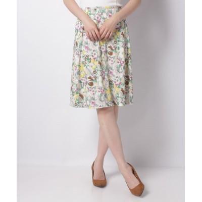 【ミス ジェイ】 フルーツ柄スムース スカート レディース ベージュ 40 MISS J