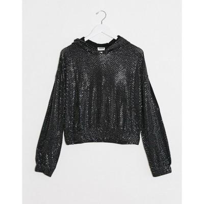 ノイジーメイ レディース パーカー・スウェット アウター Noisy May night long sleeve sequin hoodie in black