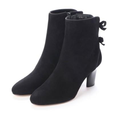 ジルスチュアート シュー JILLSTUART shoe バックリボンショートブーツ (ブラックスエード)