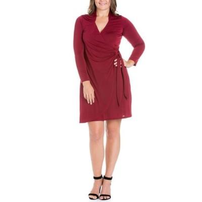 24セブンコンフォート レディース ワンピース トップス Women's Plus Size Mini Wrap Dress