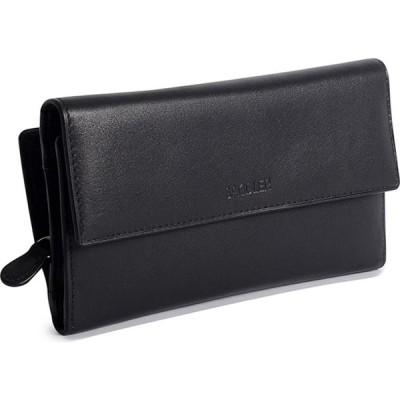 サドラー Saddler レディース 財布 三つ折り 小銭入れ 7 Black Multi-Section Tri-Fold Wallet With Full Length Zipper Coin Purse Black