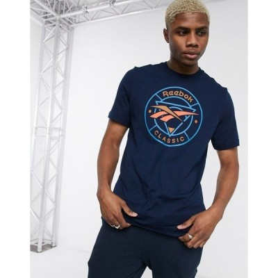 リーボック メンズ Tシャツ トップス Reebok classic t-shirt with circle vector print in navy Navy