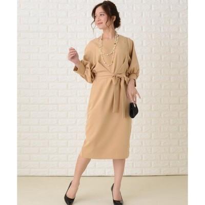 ドレス バルーン七分袖リボン付き膝下丈ワンピース・ドレス