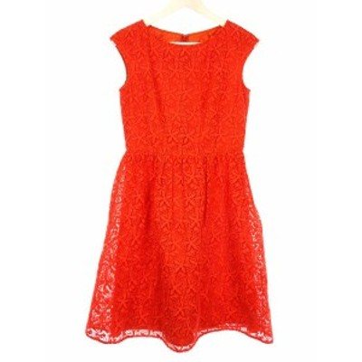 【中古】アナイ ANAYI シアー フラワー 刺繍 ワンピース 38 オレンジ ノースリーブ ドレス オケージョン 花柄