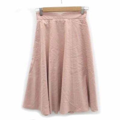 【中古】ジャスグリッティー JUSGLITTY スカート フレア ミモレ丈 1 ピンク /MS26 レディース