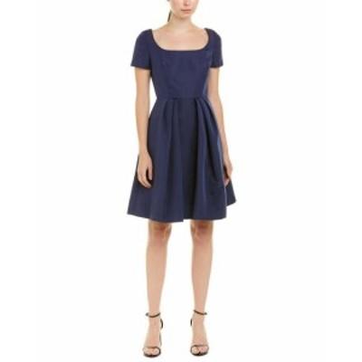 Carolina  ファッション ドレス Carolina Herrera Silk A-Line Dress 8 Blue