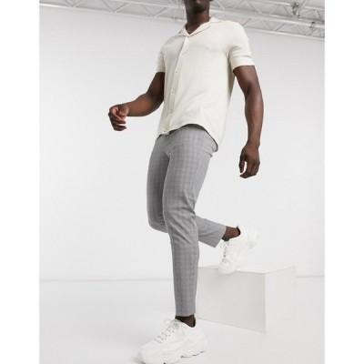 セリオ Celio メンズ ボトムス・パンツ trouser in grey mini check グレー