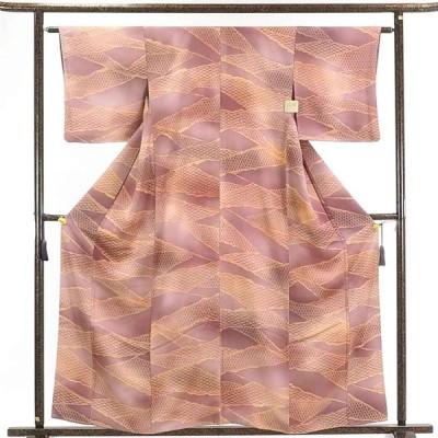 リサイクル着物 小紋 正絹茶紫ローズ地袷小紋着物