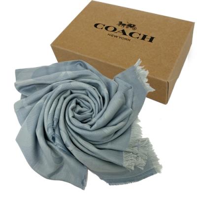 COACH 新款大C LOGO羊毛混紡披巾圍巾禮盒(霧藍)