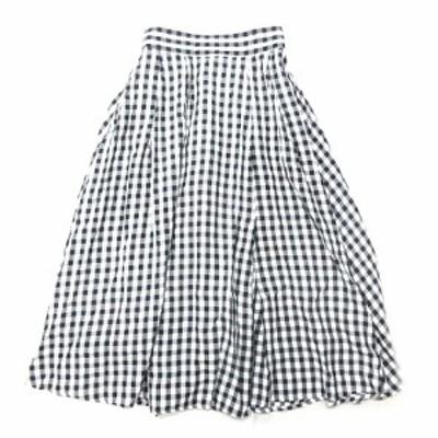 【中古】トゥエルブクローゼット 12closet ギンガムチェック ロング フレア スカート 38 黒×白 MFL-SK18010