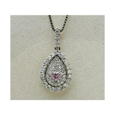 プラチナ ピンクダイヤモンド ネックレス 0.113カラット 鑑定書付き ファンシーパープリッシュピンク SI1 ラウンド 周りメレ0.540カラット