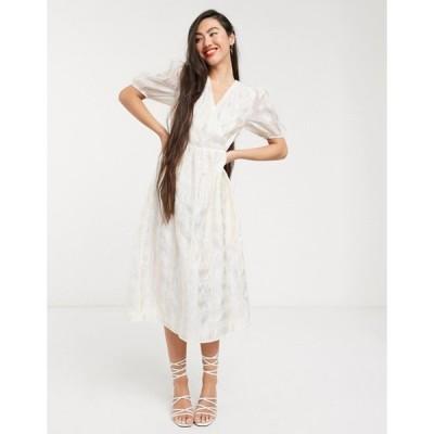 グラマラス レディース ワンピース トップス Glamorous wrap front midi dress with volume sleeves in organza check