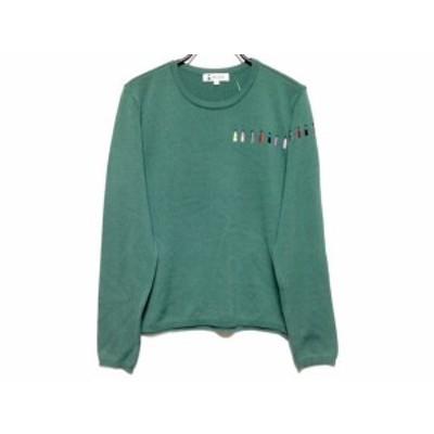ピッコーネ PICONE 長袖セーター サイズ40 M レディース - グリーン×マルチ クルーネック/刺繍【中古】20201209