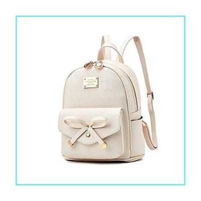 【新品】Women Fashion Bowknot Cute Leather Backpack Mini Backpack Purse for Girls Beige(並行輸入品)