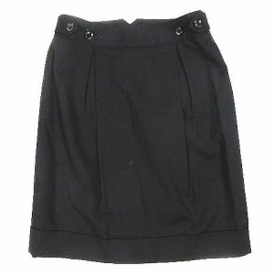 【中古】トゥモローランドコレクション タック タイトスカート ウール 膝丈 ハーフ サイズ36 黒 ブラック レディース