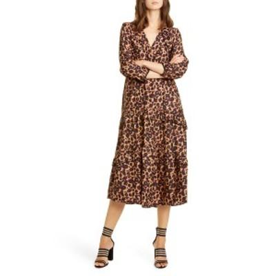 バッシュ レディース ワンピース トップス Tracy Leopard Print Midi Dress BROWN