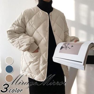 コート 中綿コート レディース キルティングコートノーカラージャケット 秋冬 40代 カジュアル 綿入りコート ショット丈 オーバー 学生アウター 大きいサイズ