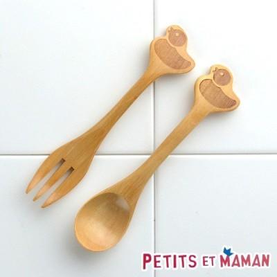 フォーク&スプーンセット プチママン 木製 カトラリー 子供用 アヒル ( フォーク スプーン 木製食器 )
