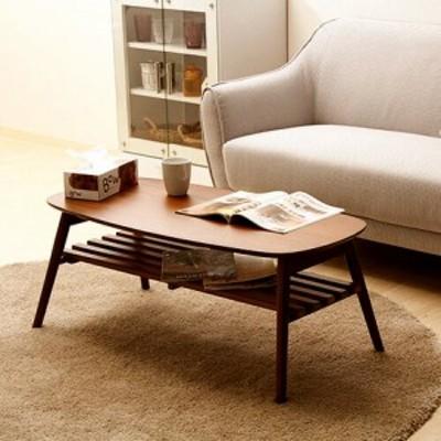 センターテーブル ローテーブル 折りたたみ 棚付き ブラウン 【 テーブル 机 リビングテーブル コーヒーテーブル 送料無料 】
