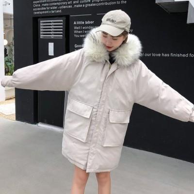レディースダウンジャケットアウター防寒韓国風大きいファアーフード付きダウンコート森ガールカジュアルアウター暖かい大きいサイズ