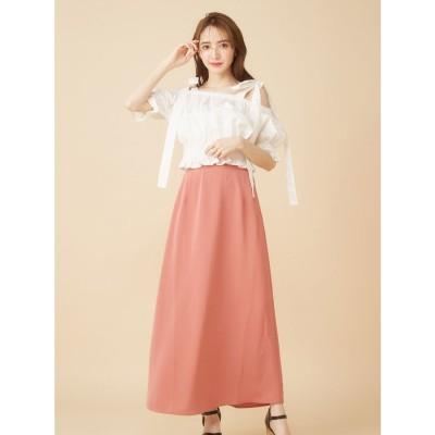 ミーア MIIA シンプルAラインスカート (オレンジ)