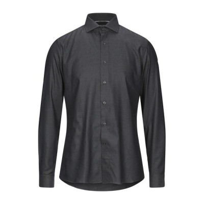 UNGARO 柄入りシャツ  メンズファッション  トップス  シャツ、カジュアルシャツ  長袖 ブラック