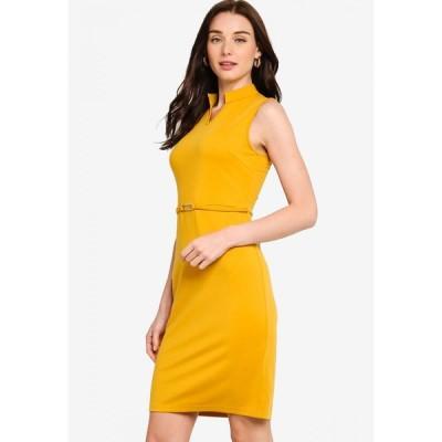 ザローラ ZALORA レディース ボディコンドレス Vネック ワンピース・ドレス Belted V Neck Bodycon Knit Dress Mellow Yellow