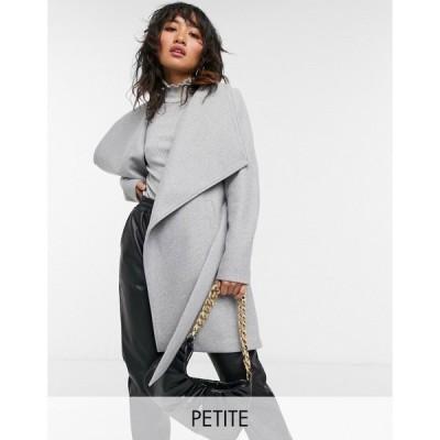ヴィラ Vila Petite レディース コート ラップコート アウター Wrap Coat With Tie Wasit In Grey ライトグレー