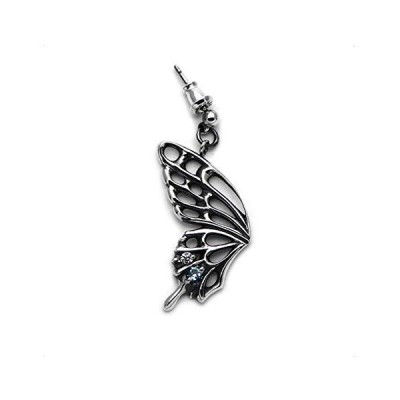 アゲハ 蝶 バタフライ 片羽根 シルバーピアス ブルートパーズ ジルコニア FAE-116