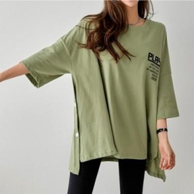 ロゴ サイドボタン Tシャツ アシンメトリー ドロップショルダー 7分袖 ゆったり カジュアル aya2630