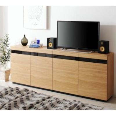 カウンター下収納にもなる薄型ハイタイプテレビボード 〔ROVER〕ローバー 幅180(幅90×2) ナチュラル