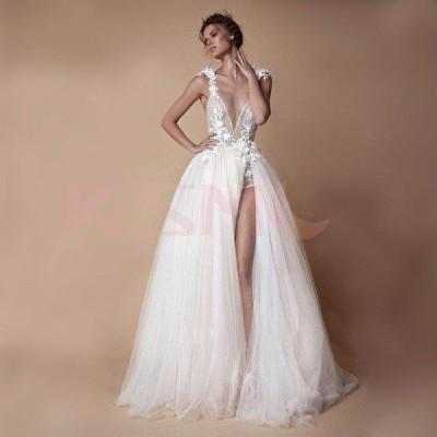 豪華 ウエディングドレス 深Vネック 花嫁 白 結婚式 ロングドレス チュール 披露宴 ベアトップ ホワイト ラインストーン お洒落